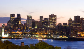 Montreal skyline and Saint Lawrence River at dusk. Quebec, Canada stock image