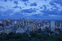 Montreal Skyline After Sunset. Montreal skyline seen from the top of Mount Royal right after sunset Royalty Free Stock Image