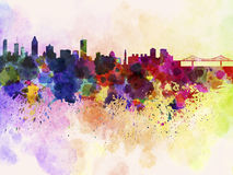 Montreal skyline in watercolor background Stock Photo