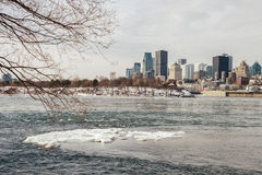 Montreal Skyline in winter from. Montreal, CA - 5 February 2017: Montreal Skyline in winter from Jean Drapeau island stock image
