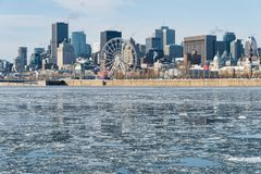Montreal Skyline in winter 2018. Montreal Skyline in winter, with chunks of ice floating on the Saint-lawrence 2018 royalty free stock photography