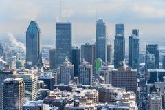 Montreal Skyline in winter. From Kondiaronk Belvedere stock photos