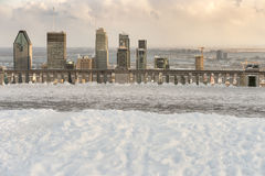 Montreal Skyline in winter. From Kondiaronk Belvedere December 2016 stock photo
