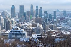 Montreal Skyline in winter. From Kondiaronk Belvedere royalty free stock images