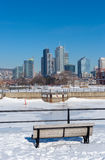Montreal Skyline in winter from Lachine Canal. Montreal, CA, 5th March 2016. Montreal Skyline in winter from Lachine Canal royalty free stock image