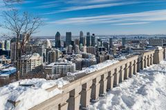 Montreal Skyline in winter 2018 royalty free stock images