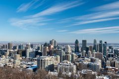 Montreal Skyline in winter 2018 Royalty Free Stock Image