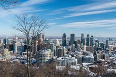 Montreal Skyline in winter 2018 Stock Photography