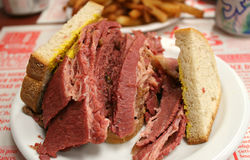 Montreal Smoked meat. Montreal Smoked meat: Hebrew Delicatessen. It is a emblematic city's cuisine Royalty Free Stock Photos