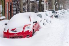 Montreal snöstorm i Januari 2018 Arkivfoton