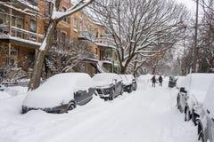 Montreal snöstorm i Januari 2018 Arkivbilder
