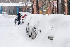 Montreal snöstorm i Januari 2018 Arkivbild