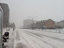 Montreal street in blizzard day stock image