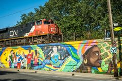 Montreal street and train, Canada Royalty Free Stock Photos