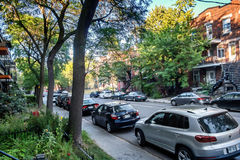 Montreal street view. Adam street Architecture buildings in Hochelaga Maisonneuve borough of Montreal, Quebec, Canada Royalty Free Stock Images