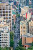 Montreal street view. MONTREAL, CANADA - SEP 8: City street aerial view on September 8, 2012 in Montreal, Canada. It is the largest city in Quebec, the second stock photos