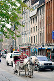 Montreal street view. MONTREAL, CANADA - SEP 8: City street view on September 8, 2012 in Montreal, Canada. It is the largest city in Quebec, the second-largest royalty free stock photo