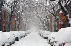 Montreal street in winter Stock Photos
