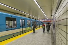 Montreal Subway Sherbrooke Station. Sherbrooke subway station called the metro in Montreal, Quebec, Canada stock photos