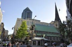 Montreal, 27th Czerwiec: Chrystus Kościelna Katedralna fasada od centrum miasta Montreal w Quebec prowinci Zdjęcie Royalty Free