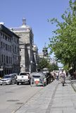 Montreal, 26th June: Street view with Carriages for Sightseeing Tour in Centre Ville of Montreal in Canada. Street view with Carriages for Sightseeing Tour in stock photo