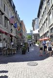 Montreal 26th June: Street view from Old Montreal in Canada. View of Rue Notre Dame from Vieux Montreal city in Canada on 26th June 2017 royalty free stock photos