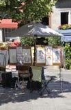 Montreal 26th Juni: Art Gallery Sketches på stället Jacques Cartier från Vieux Montreal i Kanada Royaltyfri Bild