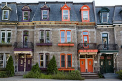 Montreal town houses. Brightly coloured town houses in Montreal, Quebec, Canada Royalty Free Stock Photography