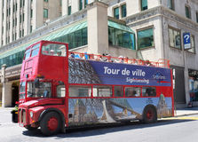 Montreal travel red bus Stock Photos