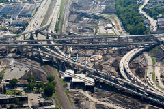 Montreal Turcot interchange project. Montreal, Canada. July 21, 2016. Aerial view from above the Turcot interchange mega project. Structures are being demolished royalty free stock photography