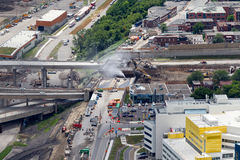 Montreal Turcot interchange project. Montreal, Canada. July 21, 2016. Aerial view from above the Turcot interchange mega project. Structures are being demolished royalty free stock photo