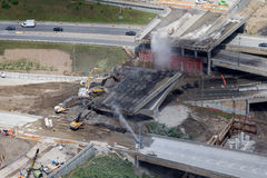 Montreal Turcot interchange project. Montreal, Canada. July 19, 2016. Aerial view from above the Turcot interchange mega project. Structures are being demolished stock photos