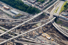 Montreal Turcot interchange project. Montreal, Canada. July 21, 2016. Aerial view from above the Turcot interchange mega project. Structures are being demolished stock photos