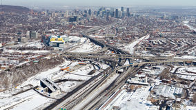 Montreal Turcot Interchange project. Montreal, Canada. March 2, 2016. Aerial view from above the Turcot interchange mega project. Structures are being demolished stock photography