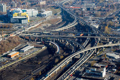 Montreal Turcot interchange project. Montreal, Canada. Nov 2, 2016. Aerial view from above the Turcot interchange mega project. Structures are being demolished royalty free stock photo