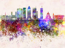 Montreal V2 skyline in watercolor background Royalty Free Stock Photography