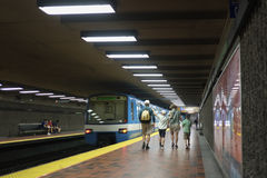 Montreal Viau subway station (metro). Montreal Viau subway station called the metro stock photos