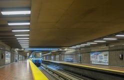 Montreal Viau subway station metro. Montreal Viau subway station called the metro. The Viau station east Montreal royalty free stock photo