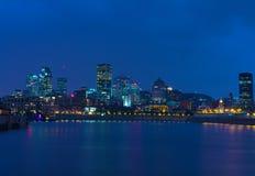 Montreal vid natt Arkivfoton