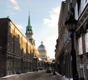 Montreal vieja en invierno Fotografía de archivo libre de regalías