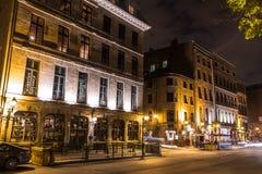 Montreal vieja en la noche Fotos de archivo