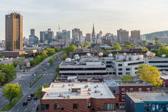 Montreal Ville-Marie district from Jacques Cartier Bridge, at su Royalty Free Stock Image