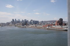 Montreal vue from jacques cartier bridge. And saint-laurent stock photography