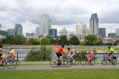 Montreal weekend. Cycling along Lachine cannel in Montreal royalty free stock image
