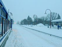 Snow strom Montreal railway station royalty free stock images