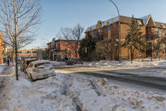 Montreal winter city scene stock photo