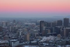 Montreal winter cityscape stock photo