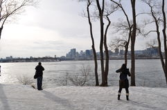 Montreal winter scene royalty free stock photo
