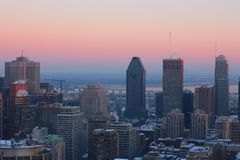 Montreal winter skyscrapers stock photography