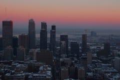 Montreal-Wintersonnenuntergang Stockfotos